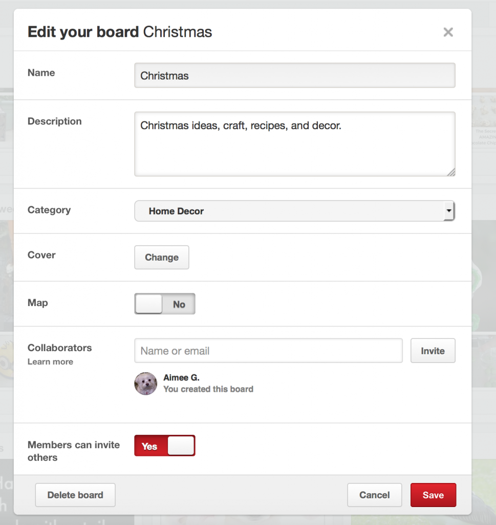 How to edit a board on Pinterest
